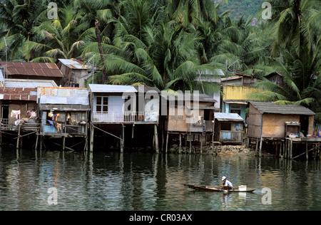 Vietnam, Khanh Hoa Province, Nha Trang, fishermen village on stilts - Stock Photo