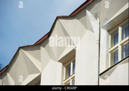 Cubistic Building by Josef Chochol Neklanova Street Prague Czech Republic - Stock Photo