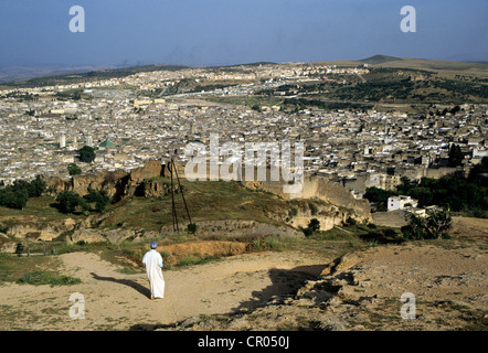 Morocco, Middle Atlas, Fez, Imperial City, overview of the town from the hills - Stock Photo
