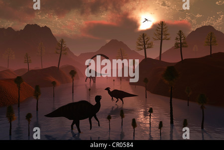 Watering Place. Sauropod & Duckbill Dinosaurs Co-Existing Peacefully Together. - Stock Photo