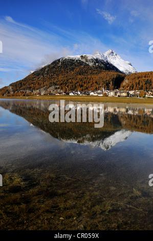 Lake Silvaplana with village of Silvaplana, Mt Piz da la Margna at back, St. Moritz, Engadine, Grisons, Switzerland, - Stock Photo