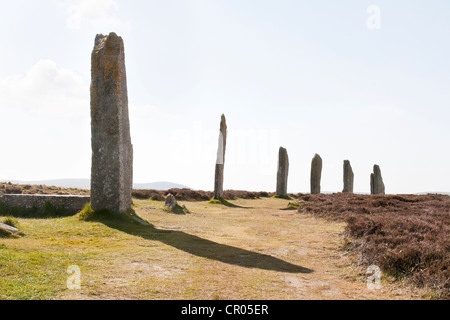 The Ring of Brodgar on the Orkney Islands silhouetted - Stock Photo