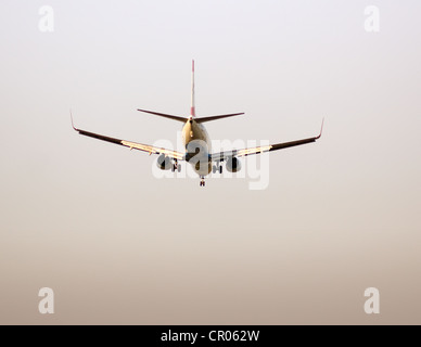Twin engine jet plane on landing approach, Frankfurt Airport, Frankfurt am Main, Hesse, Germany, Europe - Stock Photo