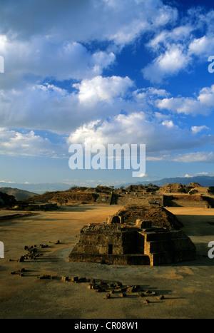 Mexico, Oaxaca State, the Pre-Columbian site of Monte Alban, architectural group of Olmecs, Zapotecs and Mixtecs - Stock Photo