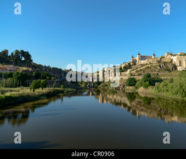 Tagus River with San Martin Bridge and the Alcazar, Toledo,Spain - Stock Photo