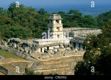Mexico, Chiapas State, Maya site of Palenque, listed as World Heritage by UNESCO, El Palacio - Stock Photo