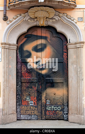 Italy, Lombardy, Milan, Corso di Porta Ticinese, painted porch depicting the Holy Virgin - Stock Photo