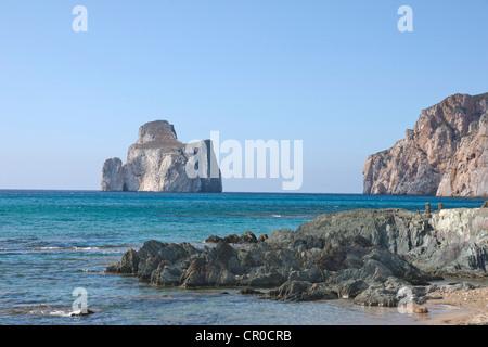 Pan di Zucchero seen from the beach near Masua, Sardinia, Italy, Europe - Stock Photo