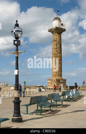 Lighthouse on West Pier at Whitby, North Yorkshire - Stock Photo