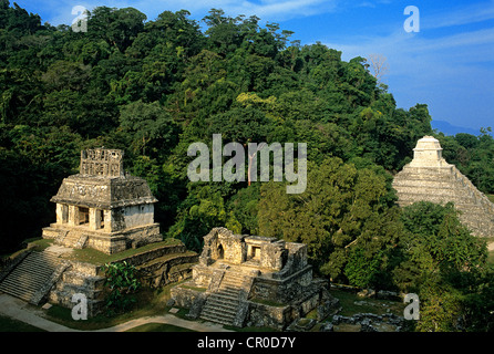 Mexico Chiapas State Maya site of Palenque listed as World Heritage by UNESCO Temple of Sun on left Temple of Inscriptions - Stock Photo