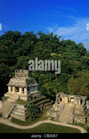 Mexico, Chiapas State, Maya site of Palenque, listed as World Heritage by UNESCO, Temple of the Sun - Stock Photo