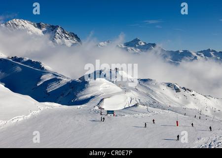 France Savoie Les Menuires Val Thorens Meribel crossroad of Trois Vallees ski resort from Mont de la Chambre 2850m - Stock Photo
