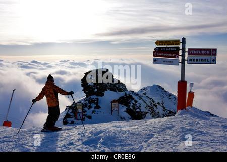 France, Savoie, Les Menuires, Meribel, Val Thorens, crossroad of the Trois Vallees, landscape from the Mont de la - Stock Photo