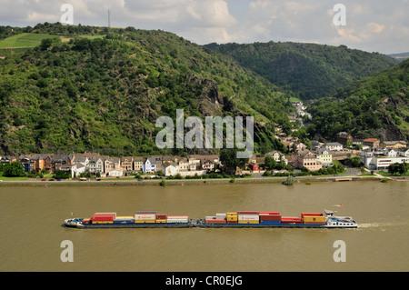 Cargo ship on the Rhine River near St. Goarshausen, Rhineland-Palatinate, Germany, Europe - Stock Photo