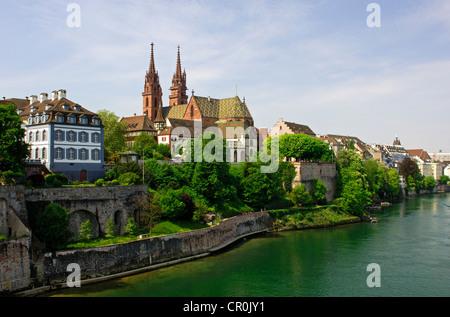 Gross Basel Muenster as seen from Wettsteinbruecke bridge, Basel, Switzerland, Europe - Stock Photo