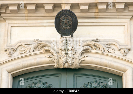 Italian embassy and coat of arms - Stock Photo