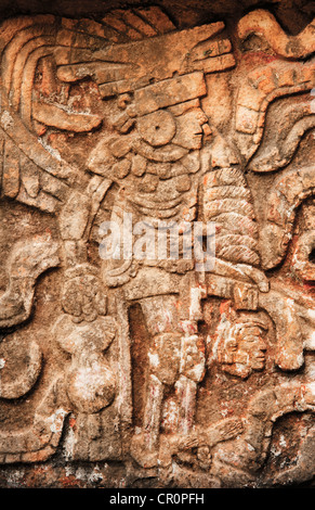 Mexico, Yucatan, Chichen Itza, Mayan carvings - Stock Photo