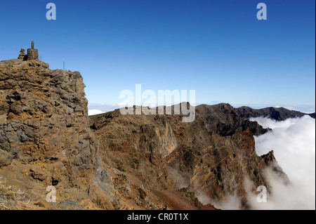 Summit of the Pico Fuente Nueva with a sea of clouds in the Caldera de Taburiente National Park, La Palma, Canary - Stock Photo