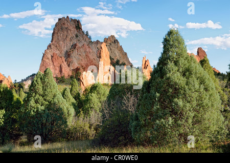 Cathedral Rock or Gray Rock, Garden of the Gods, red sandstone, Colorado Springs, Colorado, USA - Stock Photo