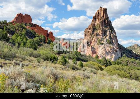 Gray Rock or Cathedral Rock, Garden of the Gods, red sandstone rocks, Colorado Springs, Colorado, USA - Stock Photo