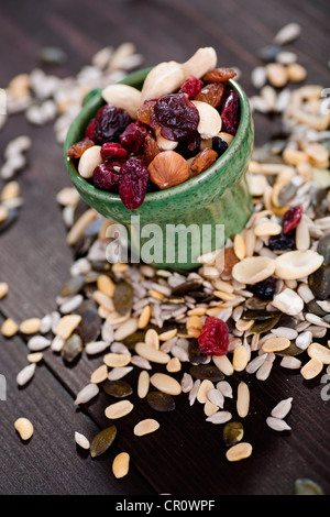 Various nuts, kernels and dried fruits - Stock Photo