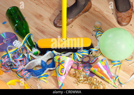 Cleaning Messy Room messy room after party next day and woman cleaning stock photo
