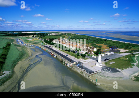France, Somme, Baie de Somme, Le Hourdel (aerial view) - Stock Photo