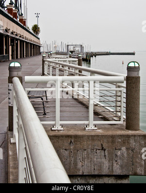 The zigzag railing along the walkway or promenade on the Mission Bay side of AT&T Park in San Francisco, CA - Stock Photo