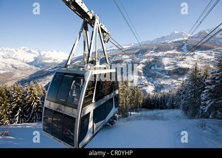 France Savoie les Coches paradiski cabin of Vanoise Express linking with Peisey Nancroix in background view over - Stock Photo