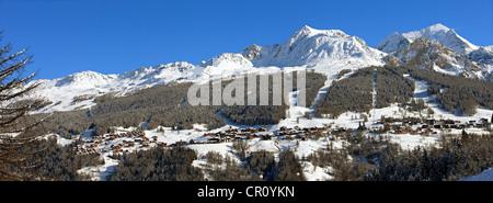 France, Savoie, Peisey Nancroix, paradiski, Mont Pourri 3779m and Aiguille Rouge 3226m - Stock Photo