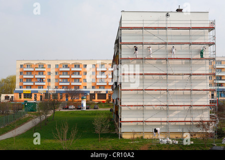 Scaffolding on a building in Poland, Europe - Stock Photo
