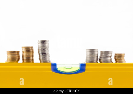 stability and change in the rate of money abstract on white background - Stock Photo