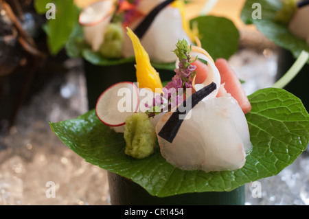 Close up of ornate piece of sushi - Stock Photo