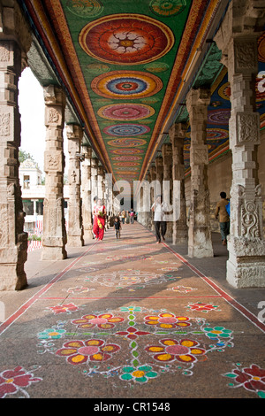Rangoli (traditional floor decoration). Sri Meenakshi temple. Madurai. India - Stock Photo