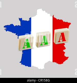 Three A's on a map of France, one is red as a symbol of the risk of losing the Triple A ranking, symbolic image - Stock Photo