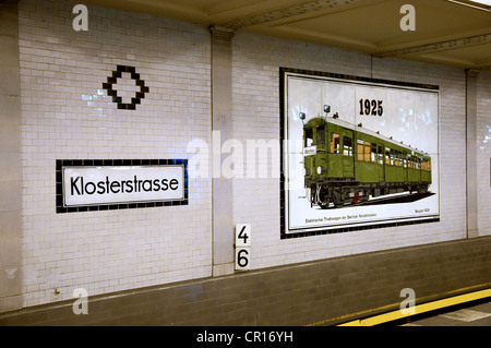 Berlin, Germany. Klosterstrasse U-Bahn (underground) station. Tiles on wall - old trains - Stock Photo