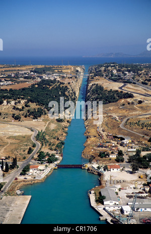Greece Peloponnese Corinth Canal built in 19th century to connect Gulf of Corinth with Ionian Sea in Aegean Sea - Stock Photo