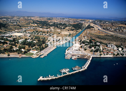 Greece Peloponnese Corinth Canal built in the 19th century to connect the Gulf of Corinth with the Ionian Sea in - Stock Photo
