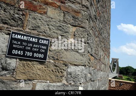 Samaritans help sign on Clifton Suspension Bridge, Bristol, Somerset, Britain, UK - Stock Photo