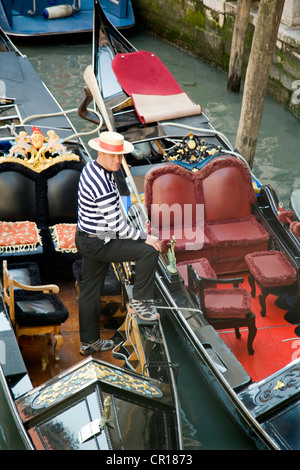 Italy, Venezia, Venice, listed as World Heritage by UNESCO, gondolas on the canals - Stock Photo