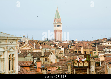 Italy, Venezia, Venice, listed as World Heritage by UNESCO, campanile and the roofs - Stock Photo