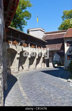 Old defence wall, Schongau, Upper Bavaria, Bavaria, Germany, Europe, PublicGround - Stock Photo