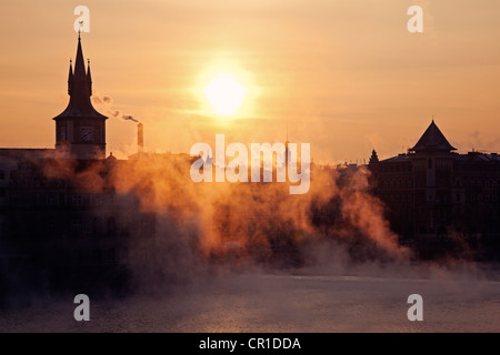 Czech Republic, Prague, View over Vltava River towards Old Town at sunrise - Stock Photo