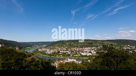 Panoramic views, village of Riedenburg, Altmuehltal valley, Lower Bavaria, Bavaria, Germany, Europe - Stock Photo
