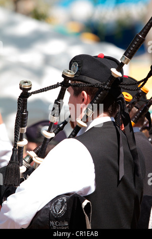 Scottish bagpipers at the Sottish festival and Highland games Costa Mesa California USA - Stock Photo