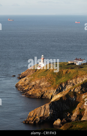 Baily Lighthouse on Howth Peninsula near Dublin, County Fingal, Leinster, Ireland, Europe, PublicGround - Stock Photo