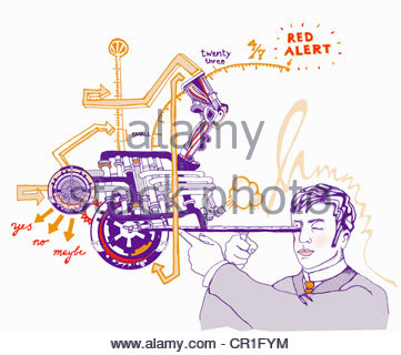 Businessman looking into machine with gauges and dials - Stock Photo
