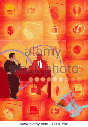 Spotlight on businessman and customer at desk surrounded by finance and communication images - Stock Photo