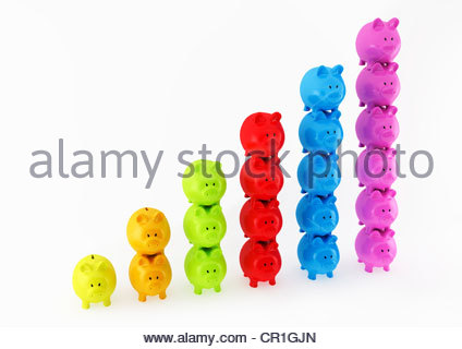 Bar graph made from columns of piggy banks - Stock Photo