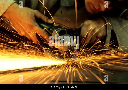 France, Vaucluse, Saint Pantaleon, Art ironworks, Gerard Aude - Stock Photo